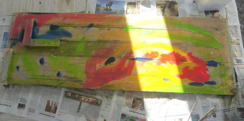 Schalbrett Schritt 2- erster Farbauftrag