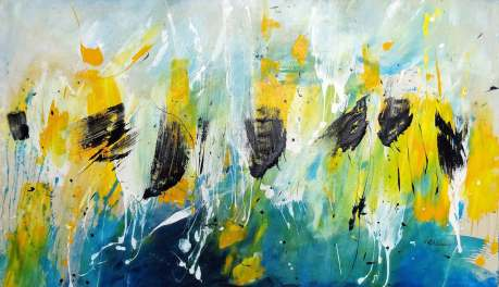 SOLD (UK) Yellow Breeze, Acrylic on unstretched raw canvas, 159x 92 cm