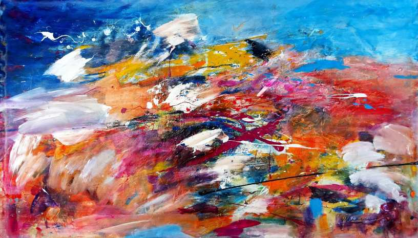 Fly High Acrylic on unstretched canvas 91 x 159 cm