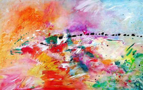 Walking On Sunshine Acrylic on unstretched canvas 92 x 146 cm